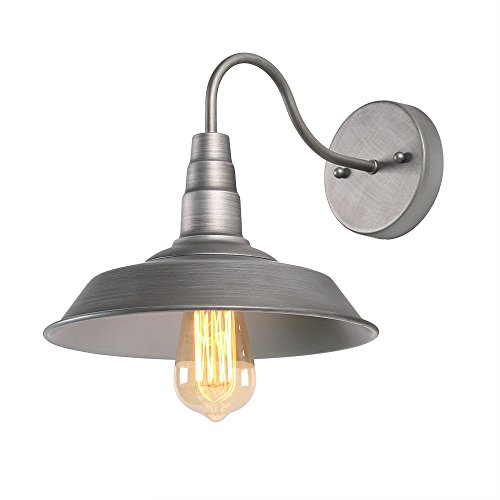 (Log Barn 1 Light Gooseneck Wall Sconce Lighting with Metal Cap Shade in Matt Brushed Pewter Finish, 10.2