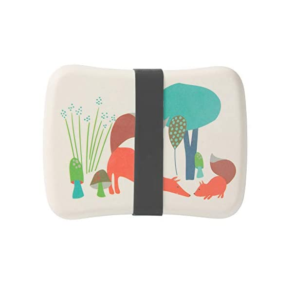 BIOZOYG Bento Lunch Box in bambù per Bambini I Porta Pranzo con Extra Scatola Snack I Scatola Merenda a Motivo - Volpe… 3 spesavip