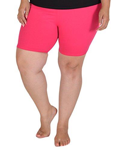 Stretch is Comfort Women's Teamwear Cotton Plus Size Bike Shorts Hot Pink 4X