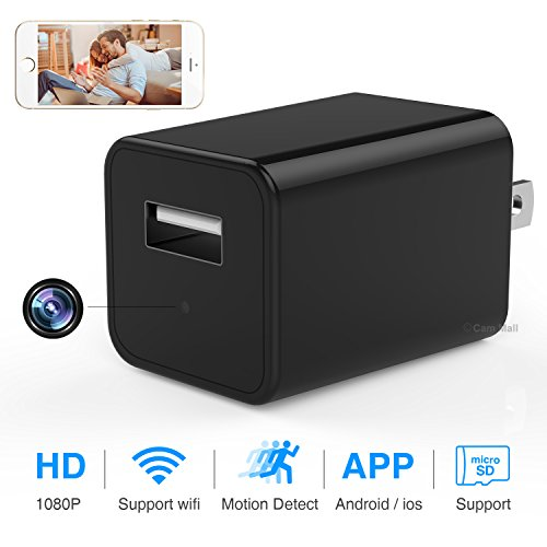 WiFi Camera 1080P USB Wall Charger Wireless AC Adapter Home Security Camera with Motion Detection, App Control for iPhone, iPad, Android, Samsung Galaxy and More