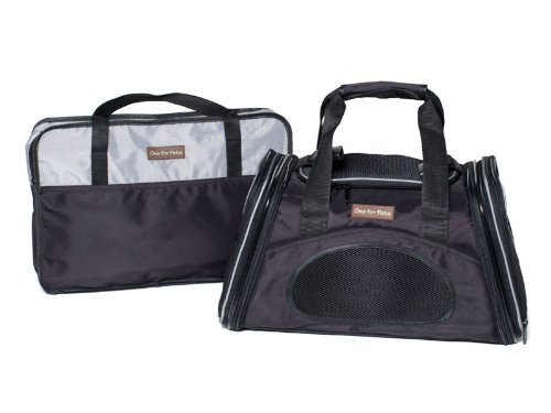 The One Bag Expandable Pet Carrier - Small - Black - Seatbelt / Trolley Fixture Included - Airline Approved Size by One for Pets