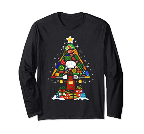 Merry Christmas Tree Chef Tools Funny Gift Shirt 2019 Long Sleeve T-Shirt