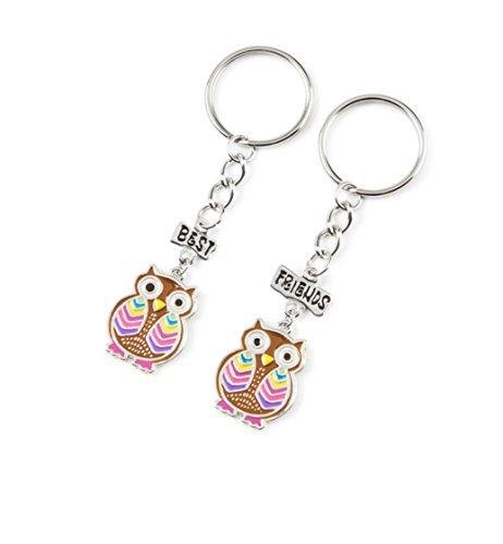 Set of 2 Best Friends Rainbow Owl Keychains
