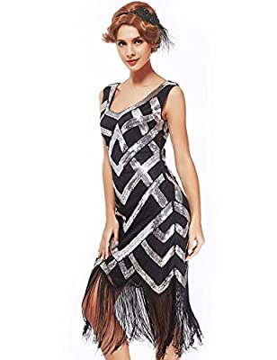 Women's 1920s Inspired Flapper Dresses-Sequined Fringed Emblished Great Gatsby Dresses