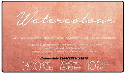 Hahnemühle - Papel para acuarela (100% algodón, mate, 300 g/m², 30 ...