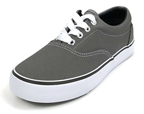Collection Footwear - DN Collection Kids Classic Lace-Up Tennis Skate Sneakers Grey 5
