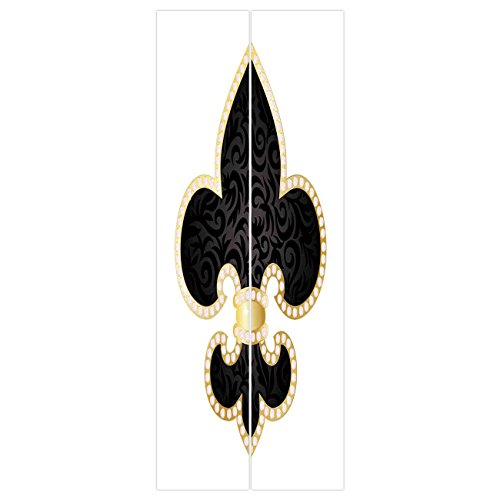 3d Door Wall Mural Wallpaper Stickers [ Fleur De Lis Decor,Royal Legend Lily Throne of France Empire Family Insignia of Knights Image,Black Gold White ] Mural Door Wall Stickers Wallpaper Mural DIY Ho