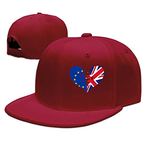 ZOENA Heart Broken EU UK Britain Exit European Union Cotton Hats Running Cap For Outdoor Sports Red
