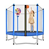 Lovely Snail Trampoline with Basketball Hoop-Trampoline for Kids-Blue-5 Feet