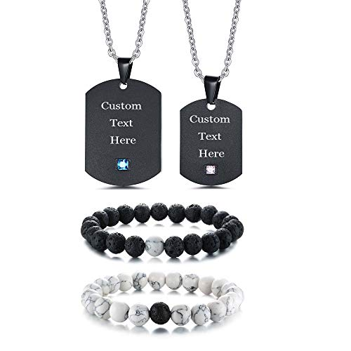 XUANPAI XP 4 Picece Free Engarving Stainless Steel Matching Couple Dog Tag Necklace&His and Hers Yin Yang Beads Bracelet by XUANPAI