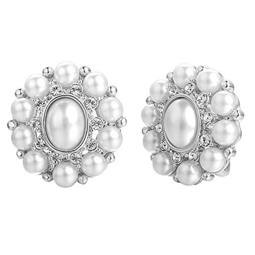 Yoursfs Vintage Pearl and Crystal Clip Earrings for Women 18K White Gold Plated 1980s Clip on Earrings ()