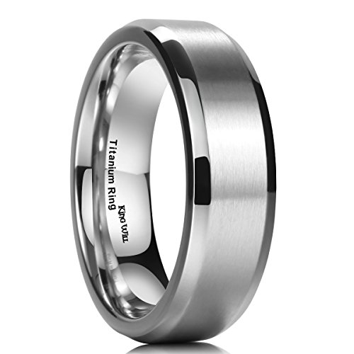 King Will 7MM Titanium Ring Brushed/Matte Comfort Fit Wedding Band For Men (12.5)