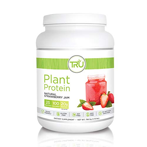 TRU Plant Based Protein Powder, Natural Flavor, Vegan & Keto Friendly, No Artificial Sweeteners, No Dairy, No Soy, 25 Servings (Strawberry Jam)