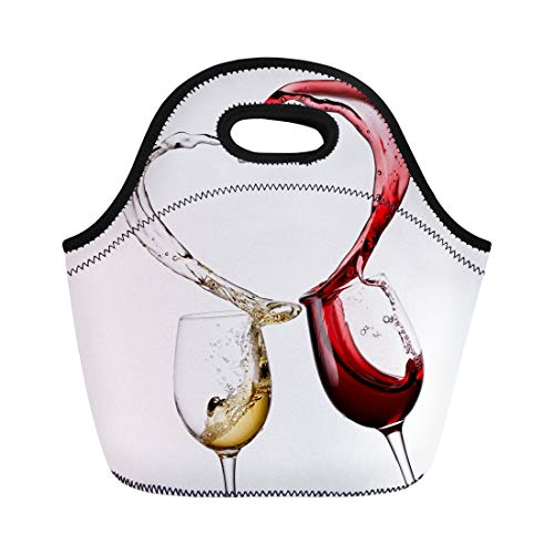 Semtomn Neoprene Lunch Tote Bag Love Red and White Wine Heart Splash Glass Valentine Reusable Cooler Bags Insulated Thermal Picnic Handbag for Travel,School,Outdoors,Work ()