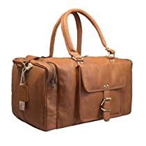 Leaderachi Men's Tan Leather Travel Duffle Bag - La Spezia