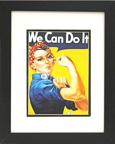 Buyartforless IF EBN1068 Glass Framed Vintage Rosie The Riveter 14X11 Poster Print Famous Propaganda We Can Do It Woman Power World War 2 Art, 14