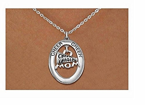 - Lonestar Jewelry Cheer Oval with Cheerleader Mom Megaphone Charm On Chain Link Necklace