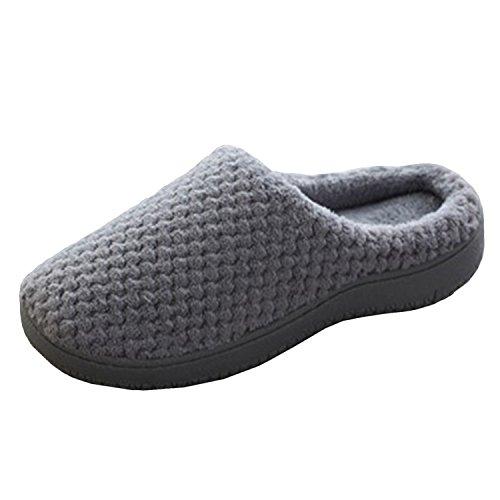 BELLOO Winter Warm Fleece Lined House Slippers Memory Foam Comfy Slip-On Mules Shoes Grey