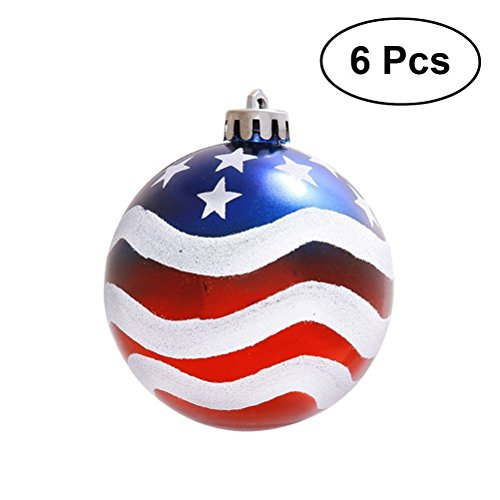 LUOEM Patriotic Ball Ornaments July of 4th Ball Hanging Independence Day Party Decor Holiday Wedding Tree Decorations 6pcs