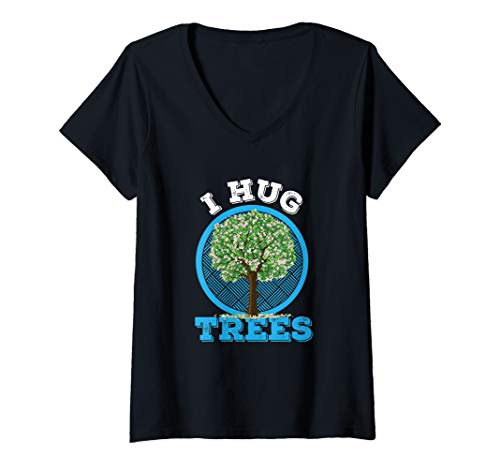(Womens I Hug Trees Tree Hugger Environmentalist Gift V-Neck T-Shirt)