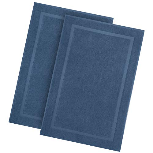 Cotton Craft - 2 Pack Luxury Bath Mat - Azure Blue - 100% Ringspun Cotton - Oversized 21x34 - Heavy Weight 1000 Grams - 2 Ply Construction - Highly Absorbent - Soft Underfoot Easy Care Machine Wash