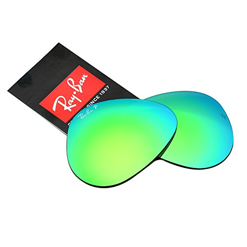 Ray-Ban Replacement Polarized Glass Lenses for RB3025 Aviator Flash Green 58mm (Rb3025 58mm)