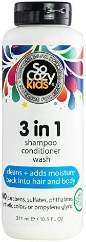 SoCozy 3-in-1 Shampoo + Conditioner + Body Wash for Kids   10.5 fl oz   No Parabens, Sulfates, Synthetic Colors or Dyes