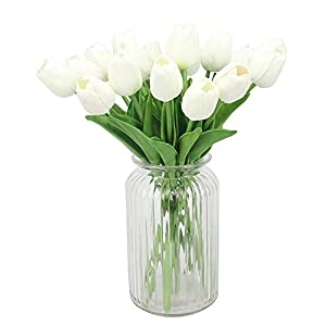 12pcs Real-touch Artificial Tulip Flowers,Muyee Fake flowers Home Wedding Party Decor Valentines Decorations (White) 95