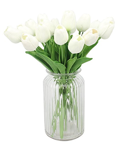 MUYEE Artificial Tulips, Single Stem 12 Heads Artificial Real Touch PU Tulips Flowers Arrangement Bouquet Home Room Office Centerpiece Party Wedding Decor