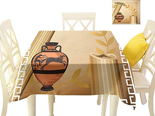 (cobeDecor Fabric Dust-Proof Table Cover Antique Greek Columns Vase Olive Branch Hellenic Heritage Icons W60 x L60, Waterproof/Oil-Proof/Spill-Proof Tabletop Protector)