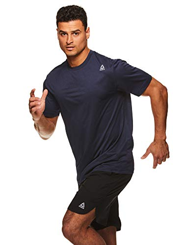 Reebok Men's Supersonic Crewneck Workout T-Shirt Designed with Performance Material - Sprint Navy Heather Blue, Large