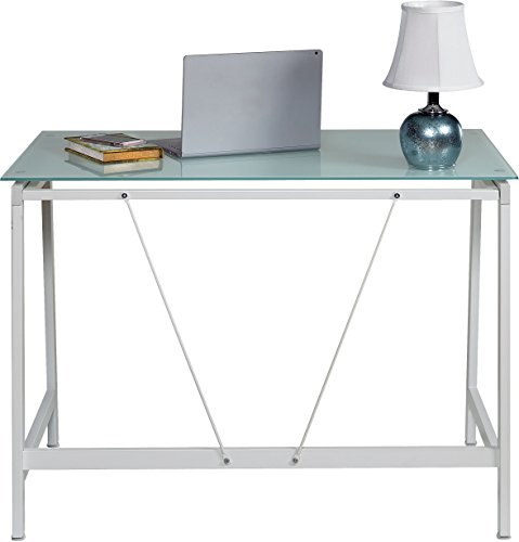 OneSpace Contemporary Glass Writing Desk, Steel Frame, White and Cool Blue - Modern and contemporary fusion design both matches and enhances any décor Makes the best use of small spaces with the working efficiency of much larger desks Ample working surface constructed of durable frosted tempered safety glass - writing-desks, living-room-furniture, living-room - 41jOpjD 80L -