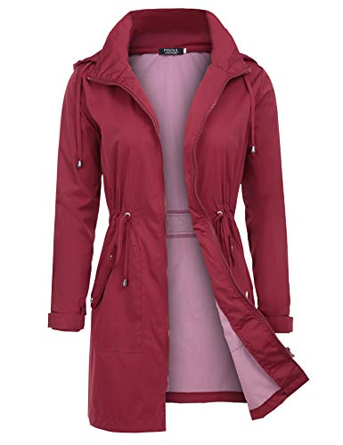 (FISOUL Raincoats Women's Waterproof Lightweight Rain Jacket Outdoor Hooded Trench Red M)