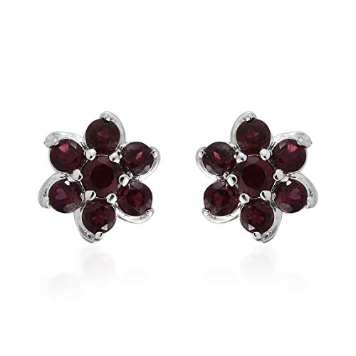 925 Sterling Silver Platinum Plated Round Pyrope Garnet Fashion Earrings For Women Cttw 1.1
