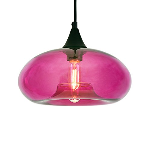 JEMMY HO Pandant Lamp with Loft Vintage Colored Glass Pendnat Lighting Dia 11'' Antique Industrial Pendant Light Fixtures (Antique Colored Glass Light Fixtures)