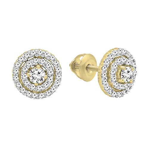 0.41 Carat (ctw) Round White Diamond Ladies Flower Cluster Stud Earrings, 14K Yellow Gold