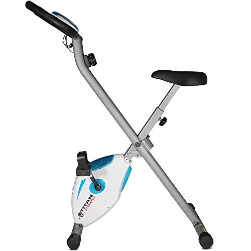 Titan Fitness Folding Exercise Bike w/ Pulse Cardio Cycling Magnetic Resistance