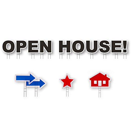Black Open House Card - Yard Card OPEN HOUSE Real Estate All-Weather 14 Sign Kit w H-Stakes, Black