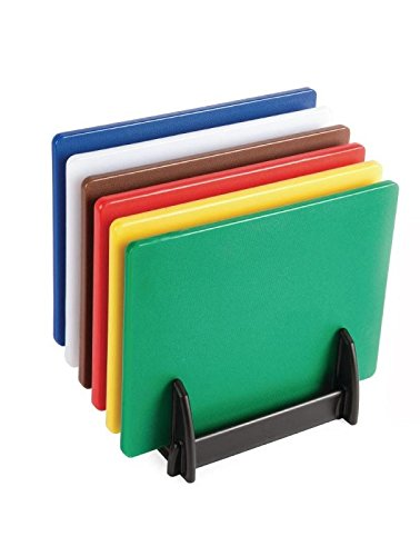 Hygiplas Low Density Chopping Board Set - Set includes 6 boards, stainless steel rack and wipe clean wall chart.