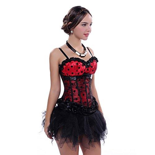 Rosfajiama corsé para mujer moda gótico retro deshuesada corsé Bustier falda Rojo