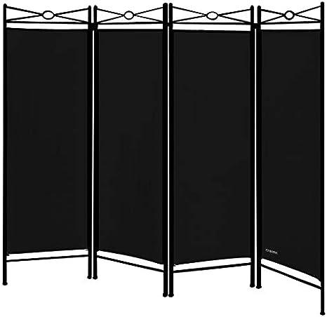 Deuba Biombo Lucca Negro Separador de Espacios Ajustable Pared divisoria con Arco de Metal Lacado Negro 4 Partes: Amazon.es: Hogar