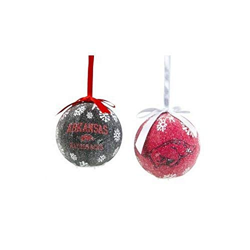 Team Sports America NCAA Licensed LED Light-up Ornament Set of 2 (Arkansas - Arkansas Led Razorbacks