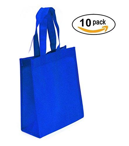 Non-woven Reusable Tote Bags, Heavy Duty Non-woven Polypropylene, Small Gift Tote Bag, Book Bag , Non Woven Bag Multipurpose Art Craft Screen Print School Bag (Royal Blue, Set of (Reusable Recyclable Tote Bag)