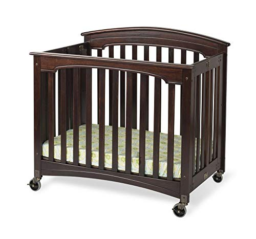 Compact Royale EasyRoll Folding Fixed-Side Crib, Slatted w/ 4