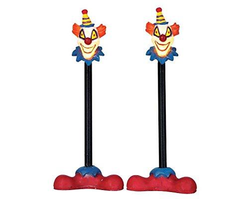 Lemax Spooky Town Killer Clown Lamp Post, Set of 2 #64056 (Black Post Holiday Lamp)