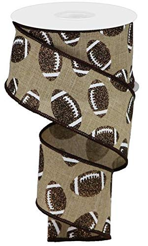 - EXPRESSIONS Glitter Football Wired Ribbon Brown and White Burlap 2.5