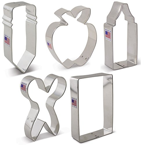 Back to School/Teacher Appreciation Cookie Cutter Set -5 piece - Pencil, Scissors, Apple, Crayon, Rectangle - Ann Clark -US Tin Plated Steel
