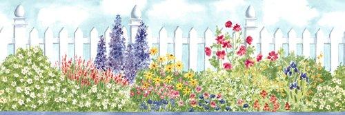 Watercolor Gardening Flowers Wallpaper Border - Blue ()