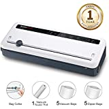 Bonsenkitchen Vacuum Sealer with Built-in Cutter & Roll Bag Storage, Lightweight Food Saver for Dry and Moist Food Fresh Preservation, Vacuum Roll Bags & Hose Included