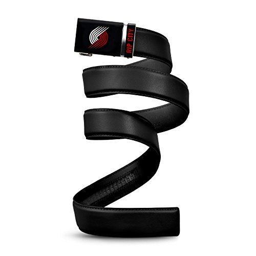 - Mission Belt NBA Portland Trailblazers, Black Leather Ratchet Belt, Large (Up to 38